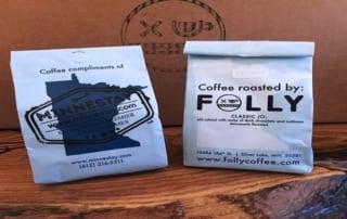 Minnestay/Folly coffee bags.