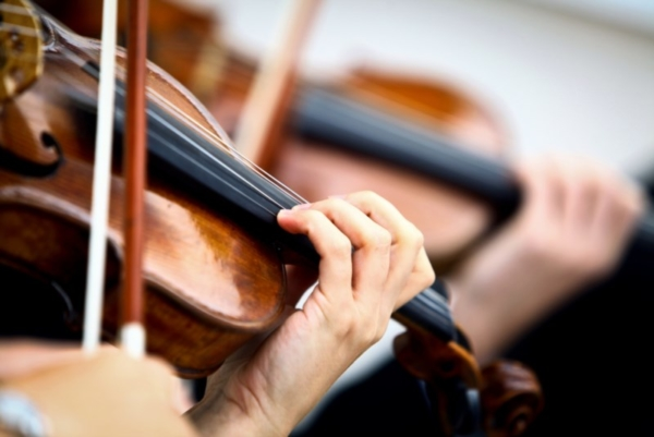 Close up of violin player.