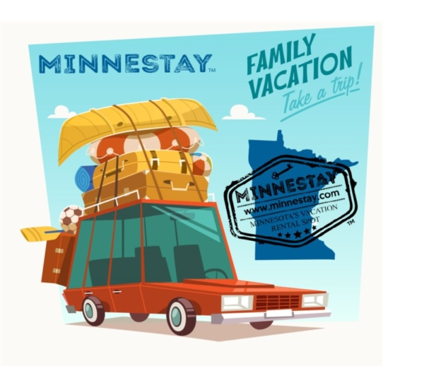 Family car with gear graphic. Text: Minnestay, Family Vacation, Take a trip! Minnestay, Minnesota's Vacation Rental Spot.
