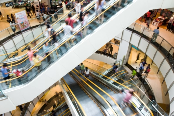 Mall of America escalators.
