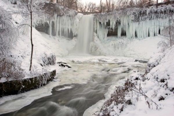 Minnehaha Falls frozen in winter.