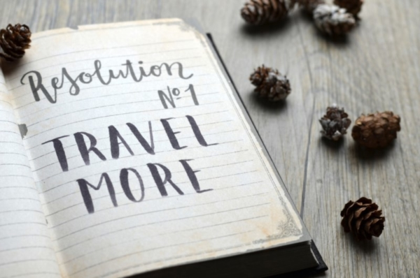 Journal and pinecones. Text: Resolution no 1, Travel More.