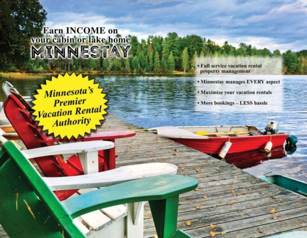 Adirondack chairs on a pier and a boat. Text: Earn Income on your cabin or lake home, Minnestay. Minnesota's Premier Vacation Rental Authority. Full service vacation rental property management, Minnestay manages every aspect, Maximize your vacation rentals, More bookings - less hassle.