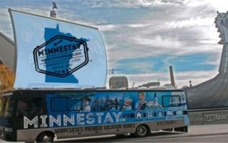 Minnestay RV outside US Bank Stadium.