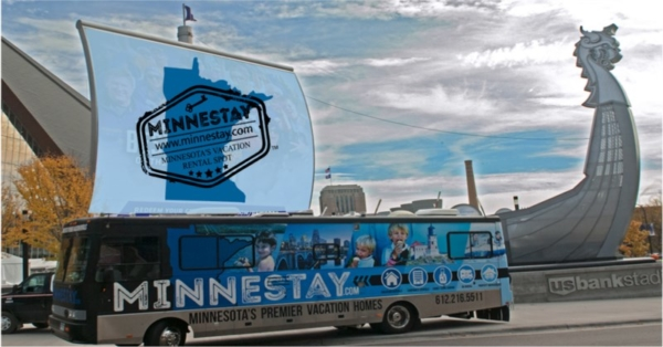 Minnestay RV outside US Bank Stadium.