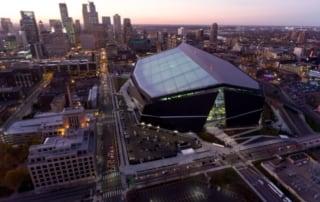 US Bank Stadium and Minneapolis skyline.