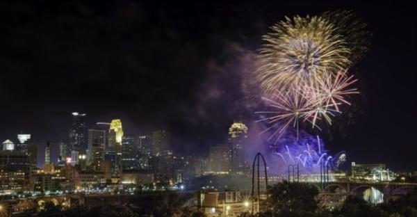 Fireworks over Minneapolis.