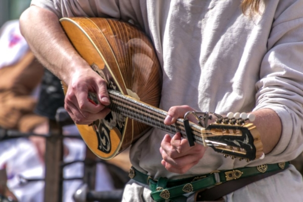 Close up of musician playing a lute.