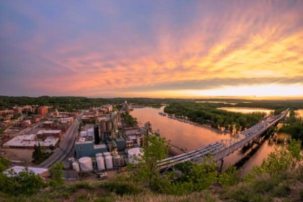 Redwing Minnesota at sunset.