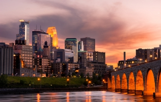 Photo of the Minneapolis Skyline. Click Here for Staycation Ideas for Couples.